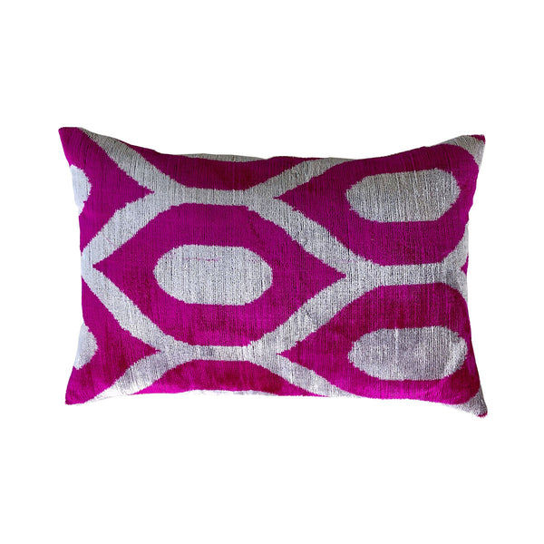 Cerise/Grey Vintage Silk & Velvet Cushion