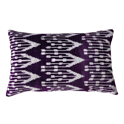Plum/White Vintage Silk & Velvet Cushion