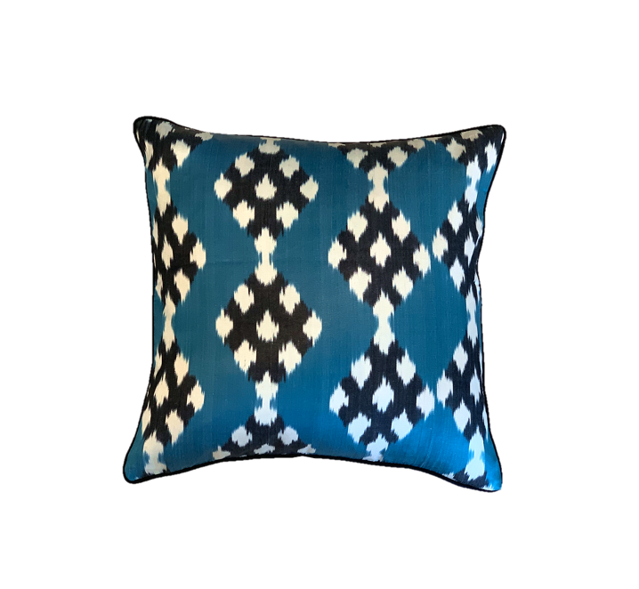 Nobu Cushion - Silk - Teal Diamond