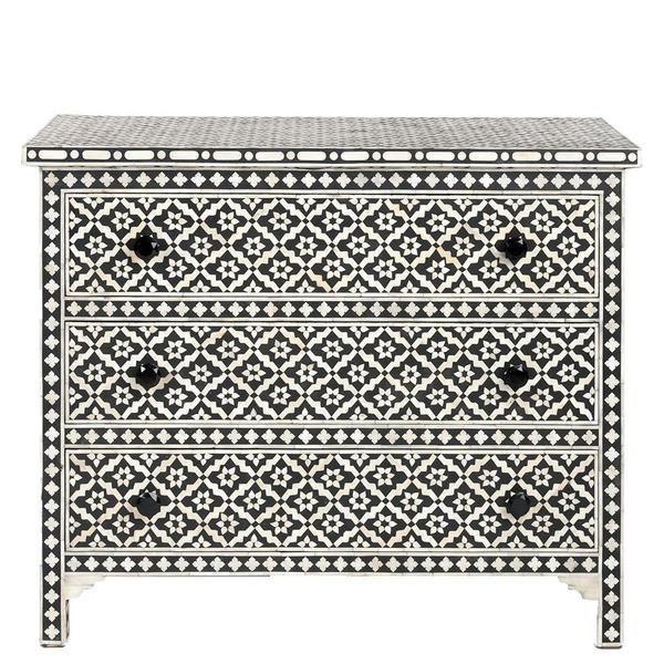 Bone Inlay 3 drawer Chest - Wallpaper
