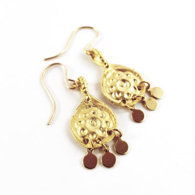 Gold Charm Daisy Drop Earrings