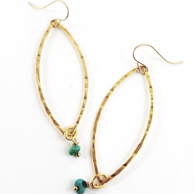 Golden Turquoise Tear Earrings