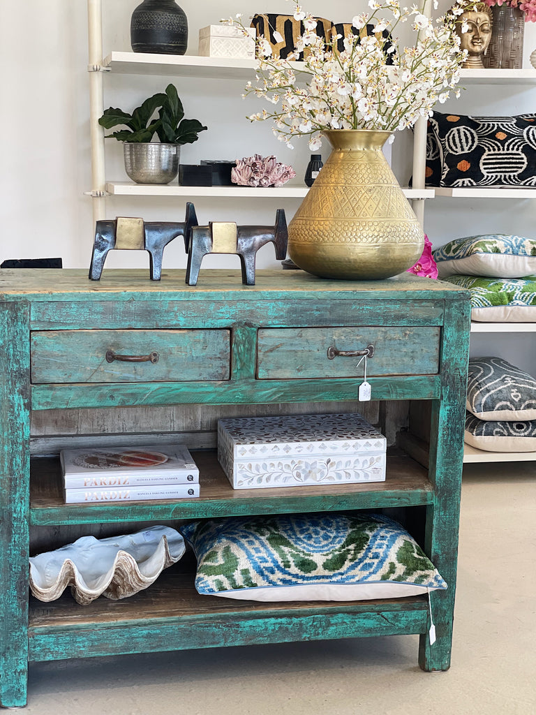 Green Panel Console with Twin Drawers