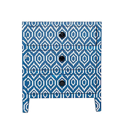 Bone Inlay 3-Drawer Side Cabinet / Ikat / Blue