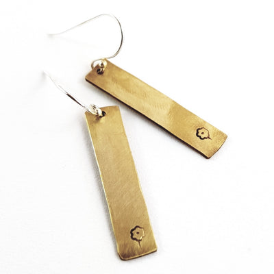 Slim Brass Floral Tag Earrings