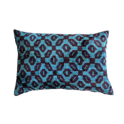Teal/Aubergine Vintage Silk & Velvet Cushion