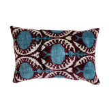 Teal/White Vintage Silk & Velvet Cushion