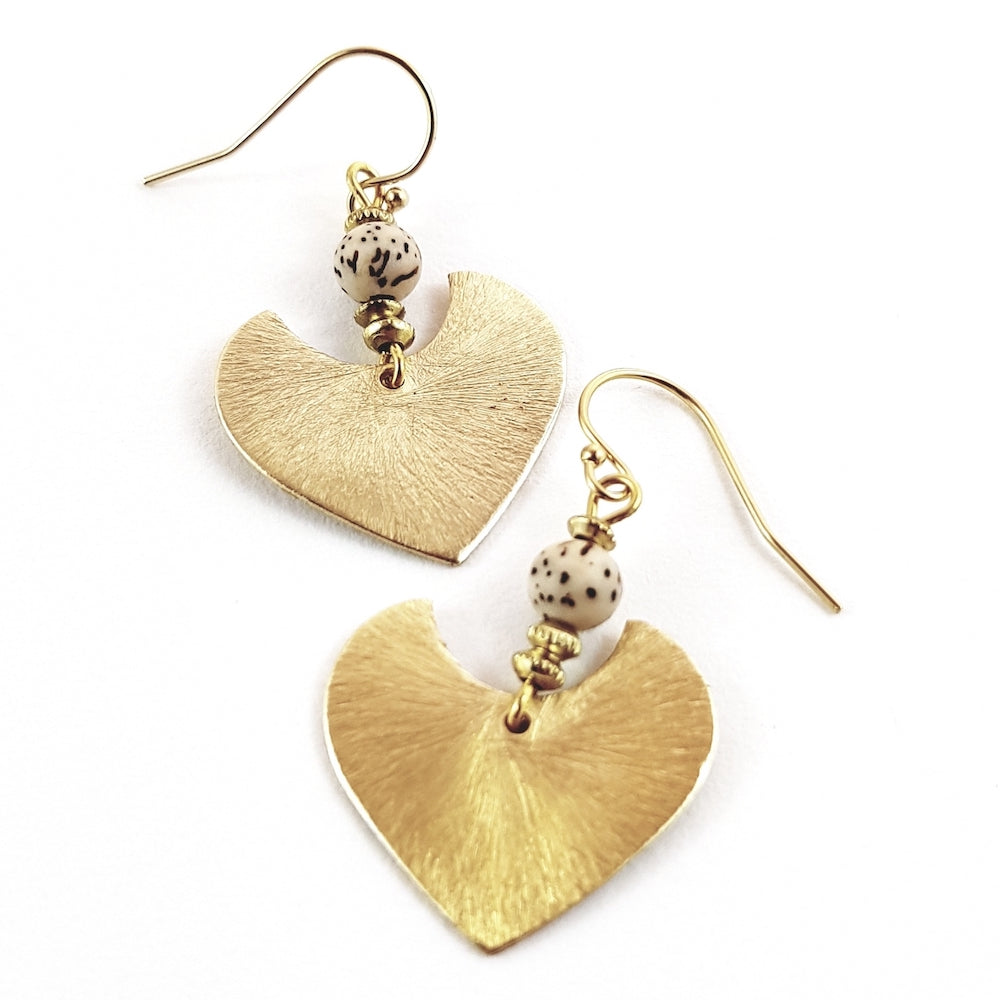 Gold Venetian Heart Earrings