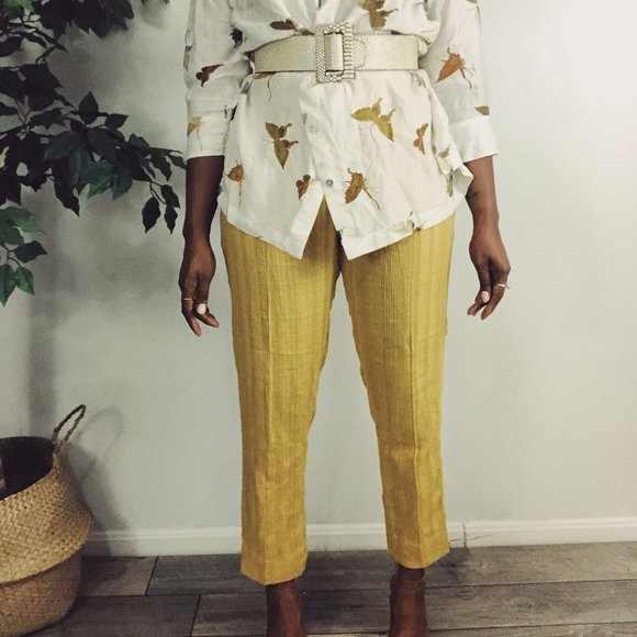 New Generation Yellow Linen Blend Ankle Pants 8
