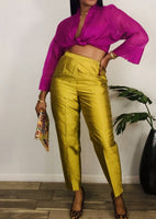 Vintage High Waist Silk Pants 8