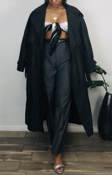 Vintage Leather Trench M/L