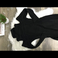 Black Turtleneck Bodycon Cold Shoulder Dress