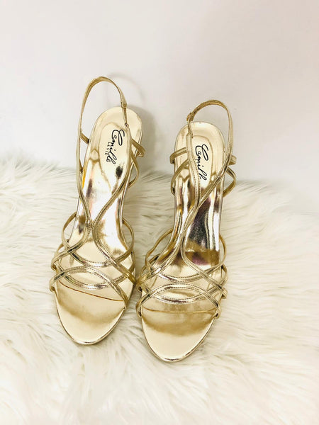 Camille Gold Strappy Heels 10