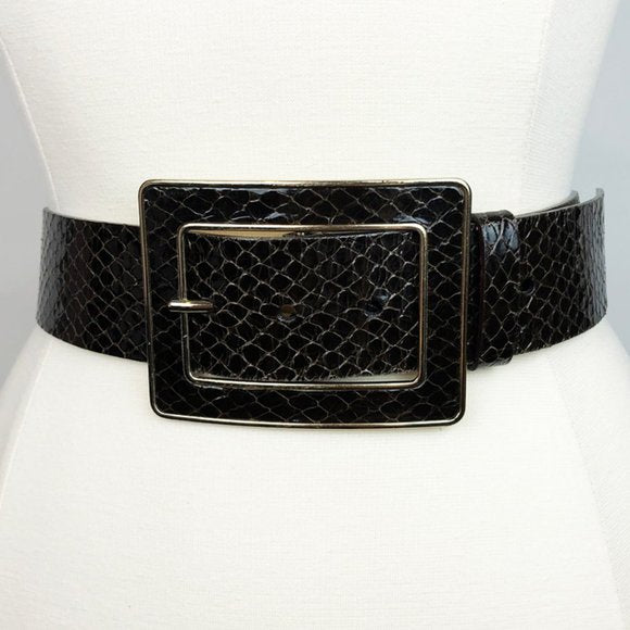 Patent Snake Leather Belt