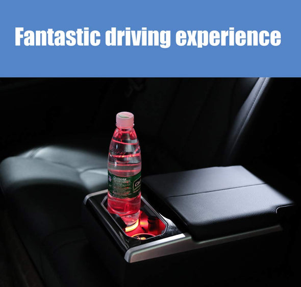 LED Car Cup Holder Lights 7 Colors Changing USB Charging Mat for Jeep (2 PCS)