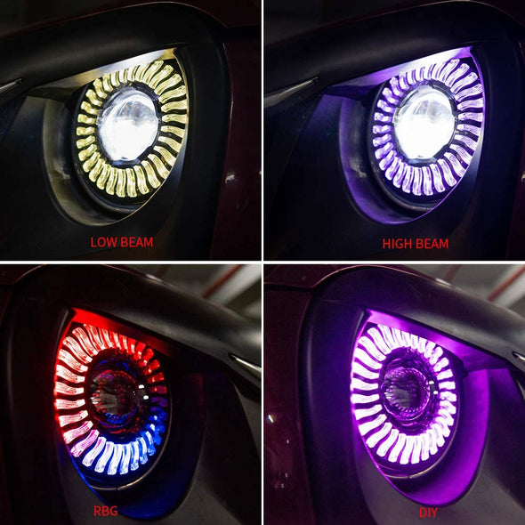 7 Inch Headlights RGB Flowing Halo Light for Jeep Wrangler JK