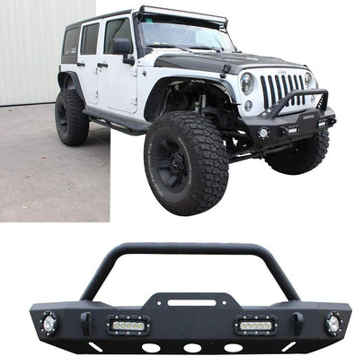 Front Bumper Protector for JL & JT w/ Led Lights + Winch Plate