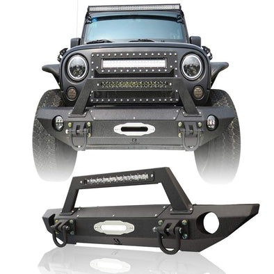 Front Bumper with Winch Cover and Strip Light