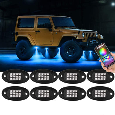 RGB LED Rock Lights Kit 8 Pods