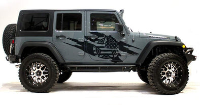 Army Star Torn Side Graphics Kit for 4-Door 2007-16 Jeep Wrangler