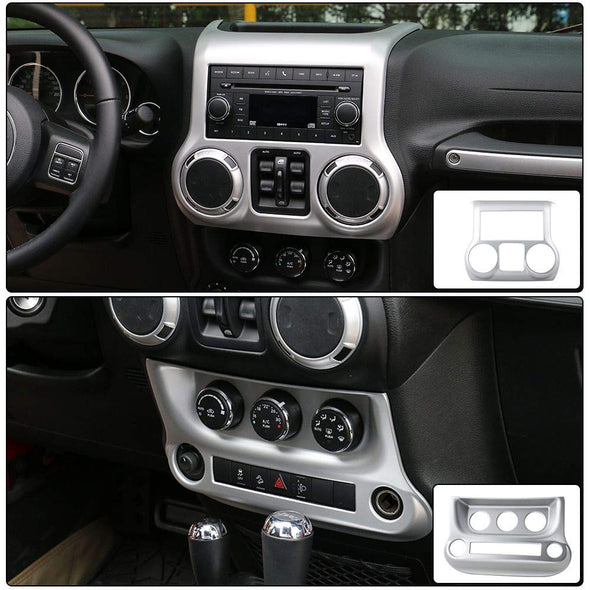 Center Console Cover & Air Conditioning Switch Cover (SILVER) with details of cover