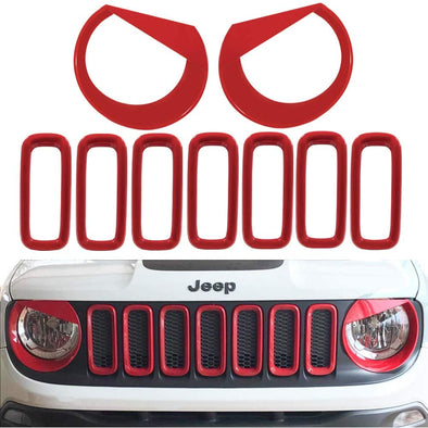Grille Inserts & Headlights Cover for Jeep Renegade 2015 - 2018