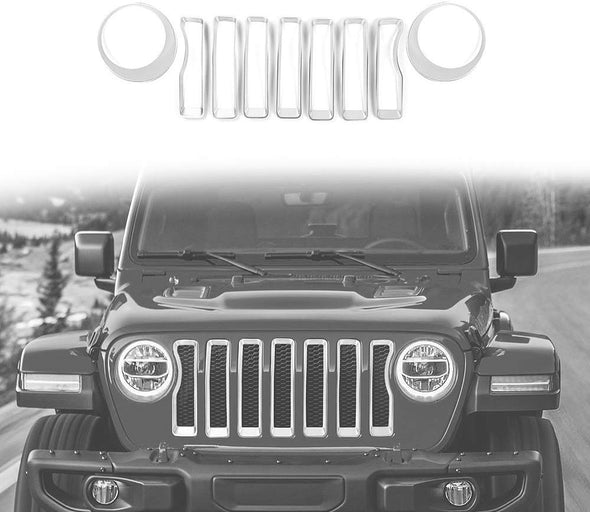 Grill Inserts + Headlight Turn Light Cover for Jeep JL & JT