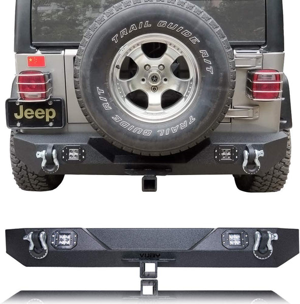 "Rear Bumper w/ 2 Square LED Lights & 2"" Hitch Receiver for 87-06 Jeep Wrangler TJ YJ"