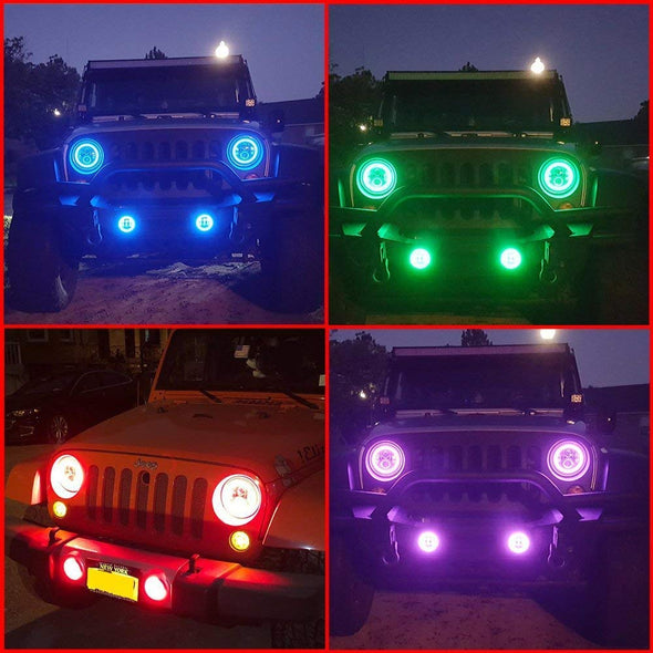 Halo LED Headlights Color Changing RGB for Jeep Wrangler