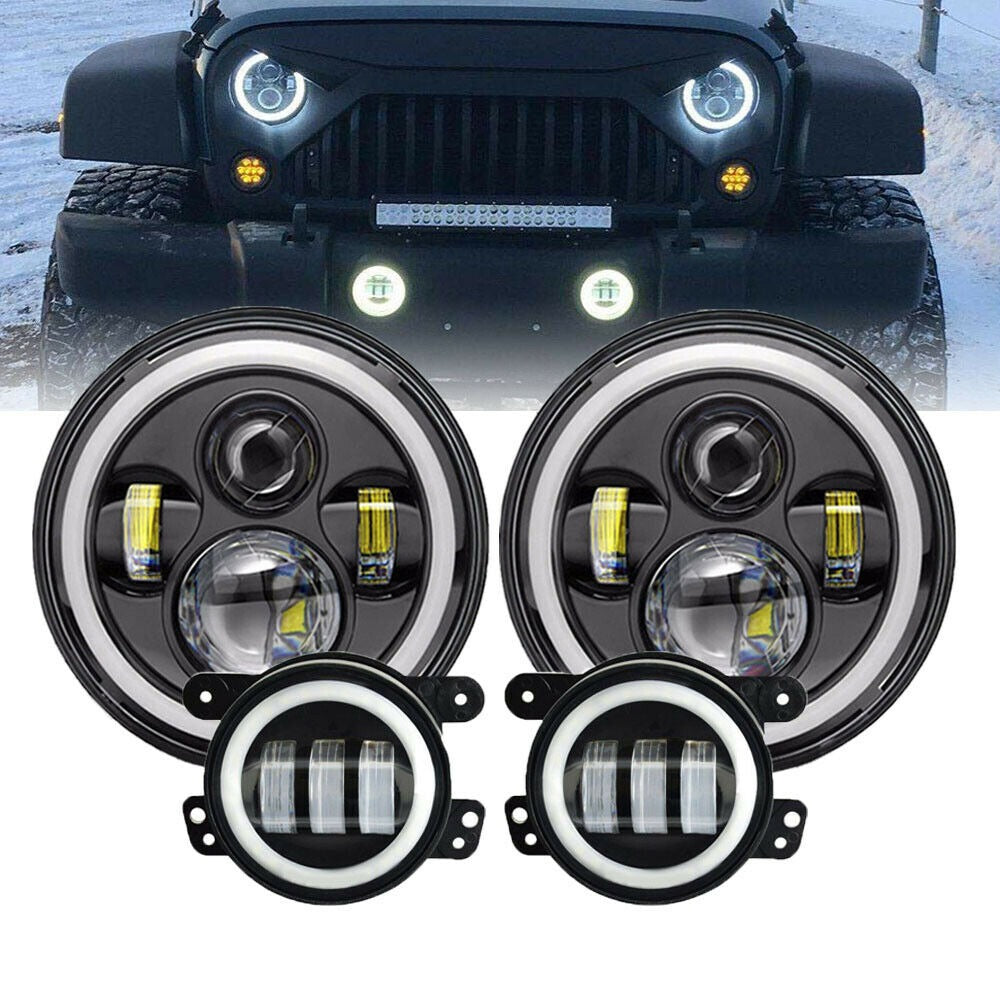 Jeep Wrangler CJ, LJ, TJ, JK 1976-2018 LED Headlights + Fog Lights (FULL SET)