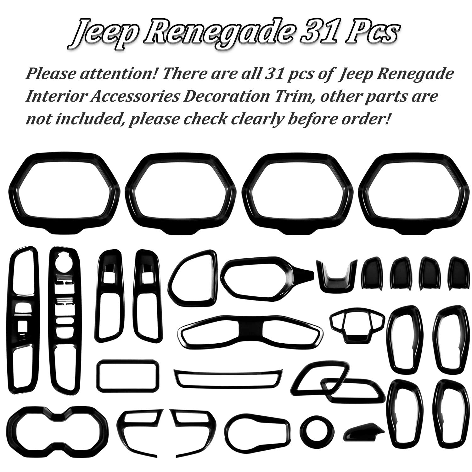 Full Set Trim Kit for Jeep Renegade 2015-2020