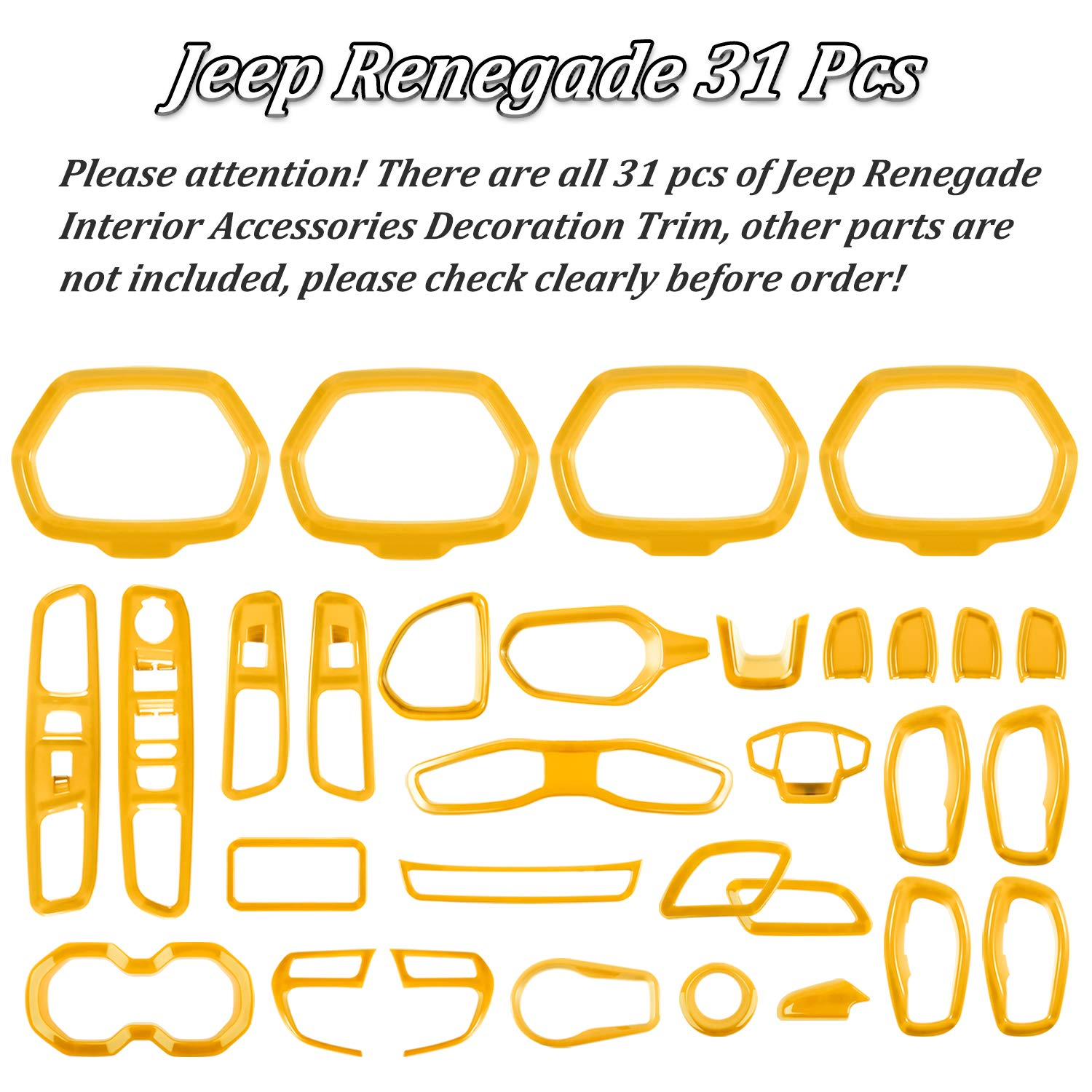 Danti Car Interior Accessories Decoration Trim Air Conditioning Vent Decoration /& Door Speaker /& Water Cup Holder /& Headlight Switch /& Window Lift Button Covers for Jeep Renegade 2015-2020 Orange