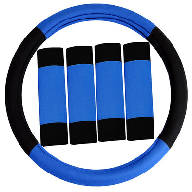 Steering Wheel Cover and Seat Belt Pads Combo Set