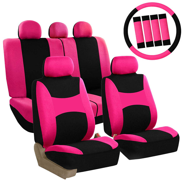 Seat Cover Combo Set with Steering Wheel Cover and Seat Belt Pad
