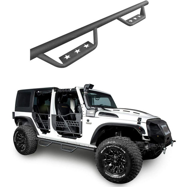 Side Steps Solid Steel Running Boards for 2007-2018 Jeep Wrangler JK 4-Door