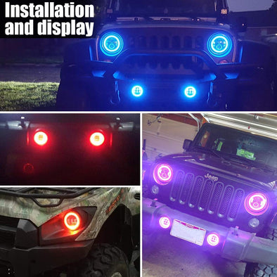 4 Inch RGB Halo LED Fog Light for 07-18 Jeep Wrangler JK Unlimited JK