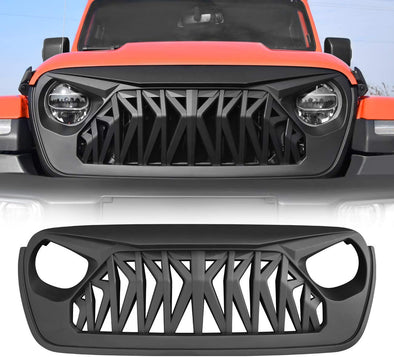 Front Shark Grill Grille for Jeep Wrangler JL Gladiator JT Matte Black