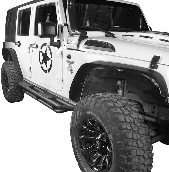 Front & Rear Flat Fender Flares for 07-18 Jeep Wrangler JK & Unlimited