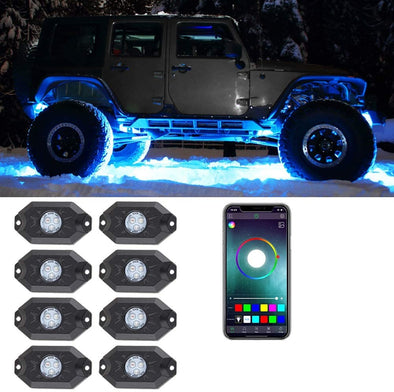 RGB LED Rock Lights - 8 Pod Lights (Upgraded Version)
