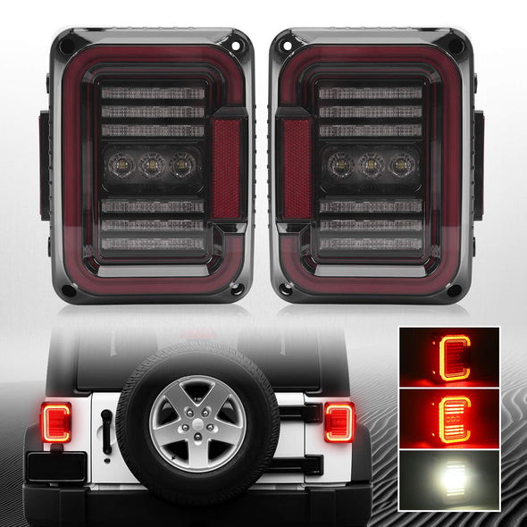 DOT Approved LED Tail Lights for 2007-2017 Jeep Wrangler JK