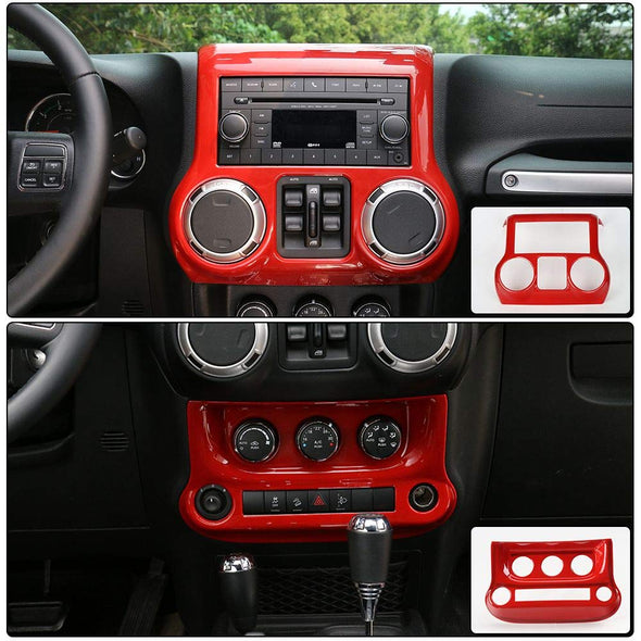 Center Console Cover & Air Conditioning Switch Cover (RED) with details of cover