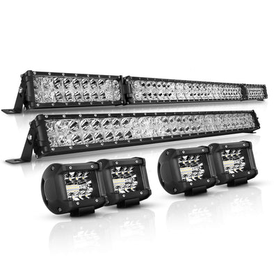 "52 Inch + 32 Inch Flood Beam LED Light Bars + 4PCS 4"" LED Light Pods"
