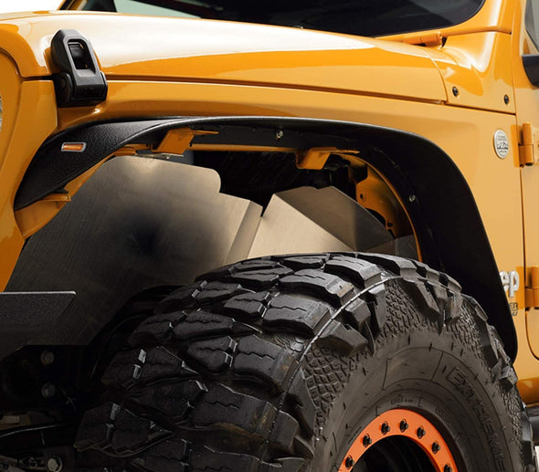 Stubby Front & Rear Fender Flares with Amber LED Lights for Jeep JL