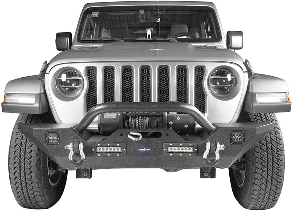 Front Bumper w/Winch Plate & LED Light for Jeep Wrangler JL & JT