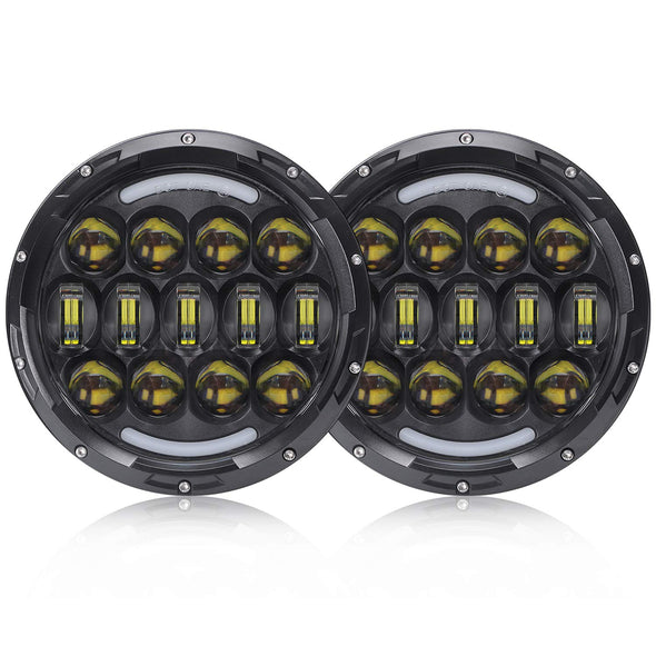 7 Inch Round LED Headlight with White & amber Turn Signal DRL