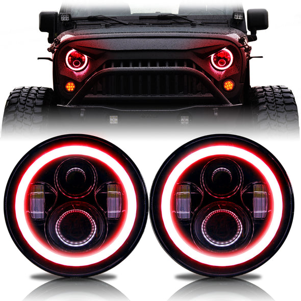 Halo LED Headlights Color Changing RGB for Jeep Wrangler (RED)