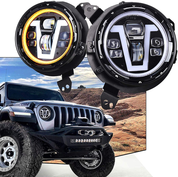 9-inch Headlights V Type Halo Ring + Adapter for Jeep JL & JT
