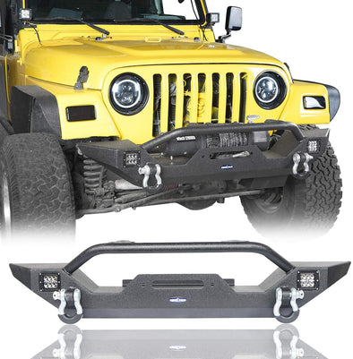 Front Bumper w/Winch Plate, LED Lights & D Rings for Jeep Wrangler TJ 97-06