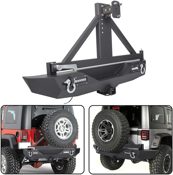 Rear Bumper Compatible with 2007-2018 Jeep Wrangler JK w/Lockable Tire Carrier