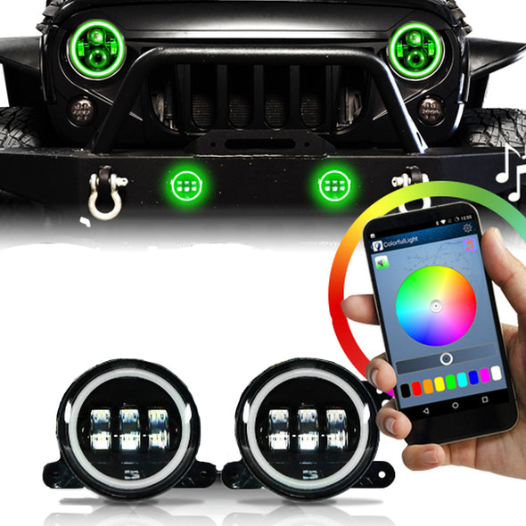 Halo LED Headlights Color Changing RGB for Jeep Wrangler (GREEN)